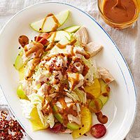 Sweet & Salty Chicken Salad  Cold deli chicken, crisp napa cabbage, and sweet slices of apples and pineapple create a stellar stackup. Drizzle the weeknight-perfect chicken salad in a snappy ginger sauce. Stir in peanut butter to make it extra creamy.