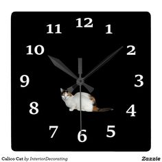 Calico Cat Square Wall Clocks
