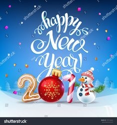happy new year 2019 decoration poster card. sign background and composition on a snowy field with christmas toys and snowman garlands candy canes gingerbread and snowflakes. New Year 2018, Happy New Year 2019, New Year Wishes, Christmas Toys, Christmas Bulbs, Happy New Year Images, Nursery Decor, Snowflakes, Candy Canes