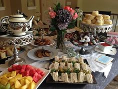 Old fashion Afternoon Tea Wedding Shower featuring scones and strawberry preserves.