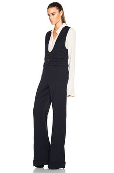 Image 2 of Chloe Wool Twill Tailoring Jumpsuit in Navy