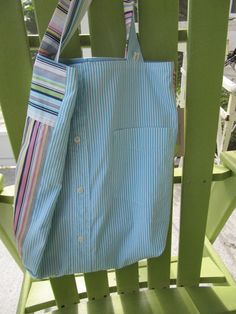 Turquoise/pink market bag $26 Daddy's Button Shirt sold