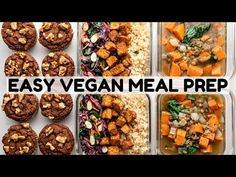 Today I'm sharing 3 easy vegan recipes with you that are perfect for Meal Prep! The full recipes are linked in the description below :) . Gf Recipes, Vegan Recipes Easy, Fall Recipes, Vegetarian Recipes, College Food Hacks, Lentil Potato Soup, Vegan Meal Prep, Cheap Meals, Vegetarische Rezepte