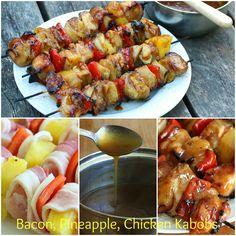 Bacon, Pineapple, Chicken Kabobs with Hawaiian Sauce.  daringgourmet.com