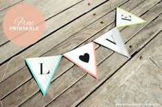 A-Z free printable banner, includes heart banner.
