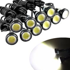 Coche que labra 1 unids 18 MM Led Eagle Eye DRL Daytime Running Lights Fuente de Copia de seguridad Que Invierte el Estacionamiento de Señal de Lámparas A Prueba de agua coche conducido
