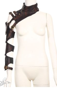 Stunning Steampunk inspired Gothic Armour accessory from Red Queen's Black Legion. This sleeve armour is gorgeously detailed featuring brass buttons, bolts, and made from a brown faux leather to give an authentic Steampunk look. Steampunk Cosplay, Steampunk Outfits, Steampunk Clothing, Steampunk Armor, Gants Steampunk, Steampunk Gloves, Steampunk Necklace, Moda Steampunk, Style Steampunk