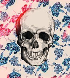 Illustration Cool hipster indie draw blue wallpaper skull desenho ilustração ilustración backgrounds caveira background calavera wallpapers back and white dibujo fondo diseño fondos pantter pantters
