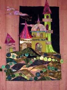 Fanciful houses by Olivia Uffer (France) House Quilt Block, House Quilts, Baby Quilts, Textile Fiber Art, Textile Artists, Collage Techniques, Quilt Border, Textiles, Small Quilts