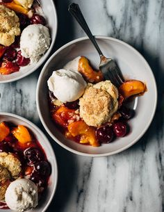 Cherry and Peach Cornmeal Cobbler