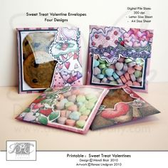 Printable Valentine Treat Pouches. Make your own Valentine Treat Packets or envelopes for cookies, and candies. Wendi Blair, Renae Lindgren - DAISIE Company