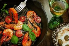 white wine in glass black spaghetti with shrimp by pretty  IFTTT 500px