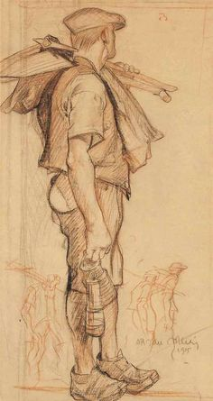 thunderstruck9: Frank Brangwyn (British, 1867-1956), The Miner, 1915. Red and black chalk on brown paper, 22 x 12 in.
