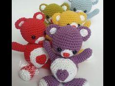 Tutorial Oso Corazón Amigurumi Heart Teddy Bear (English subtitles) - YouTube ༺✿Teresa Restegui http://www.pinterest.com/teretegui/✿༻