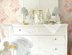 White Dresser and mirrors I love how they staggered the wall mirrors to create the mirror for this shabby dresser. Decor, Shabby Chic Dresser, Home, Inspiration, Damask Decor, Cottage Living, Furniture, Home Furniture, Beautiful Bedrooms
