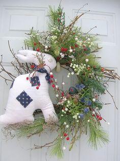Easter, Spring Patriotic Bunny Rabbit door Wreath. via Etsy.