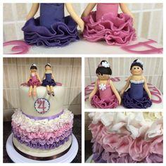 Bottom tier chocolate cake, top tier vanilla cake. #ballerina #twins #birthday #muscat #oman #fortheloveofit #fortheloveofcake
