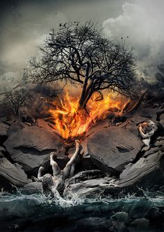Fire and Flames...even imaginary sites like this one. Calls to mind the Burning Bush