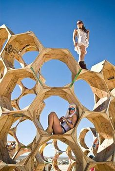 """In this photo taken Wednesday, Sept. 1, 2010, The """"Honey Trap"""" art installation is shown during Burning Man 2010 in Black Rock City, Nev. For one week out of the year, a portion of the Black Rock Desert is transformed into a thriving diverse city known asBlack Rock City, the home of Burning Man. The massive Festival takes place on the barren remnants of Pleistocene Lake Lahontan, which is now commonly referred to as the playa. Photo: Vince Alonzo, AP"""