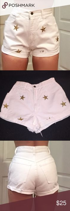 """90s super high waist jean shorts white waist 25"""" Super rare vintage high waist mom jeans cutoff shorts. White denim gold embroidered stars excel retro condition vintage cutoff mom jeans Retro sz 8 listed as modern waist sz 25"""" best for 0-2 as long as smallest part of waist does not exceed 25"""". Rise 12"""" very short not yet cheeky length can be adjusted by ironing the cuff a few """" to play with. I'm a thicker sz 2 slim fit for me may fit different for you depending on measurements so compare…"""