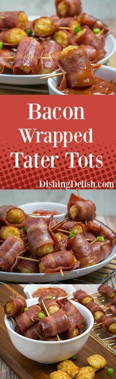 Click pin to get recipe! Repin to save recipe for later! So incredibly simple to make, Bacon Wrapped Tater Tots are sure to be a hit at your next party! Soft, savory potatoes wrapped in crispy bacon. These seriously take no time to make, and includes two ingredients that people love: Bacon and Tater Tots. Be sure to make extra, these little appetizers are going to go fast! Gluten Free!