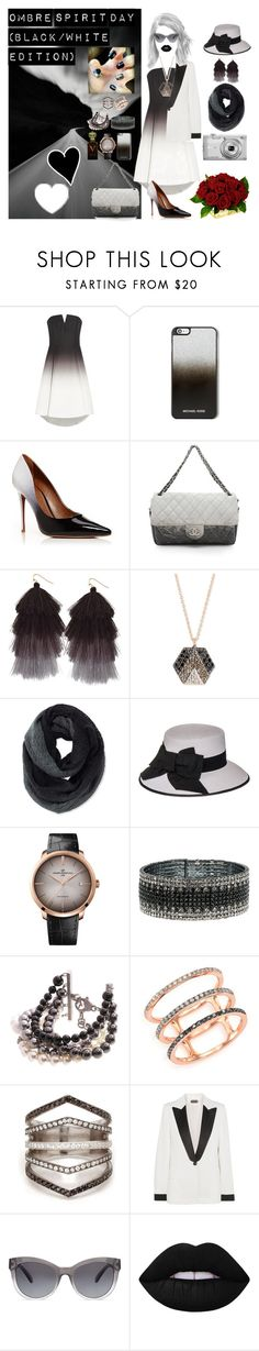 """Ombre Spirit Day (Black/White Edition)"" by chloeptlle ❤ liked on Polyvore featuring Halston Heritage, MICHAEL Michael Kors, Moda In Pelle, Chanel, Humble Chic, Kismet by Milka, Pistil, Black, Nikon and Girard-Perregaux"
