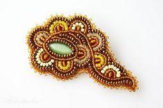 Golden Spring - bead embroidered brooch | Stories of the Secret Garden
