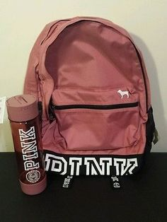 Victoria's Secret PINK Campus Backpack & Water Bottle Soft Begonia Victorias                                                                                                                                                                                 More