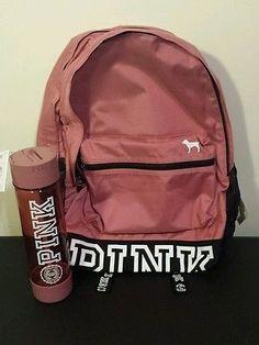 Victoria's Secret PINK Campus Backpack & Water Bottle Soft Begonia Victorias