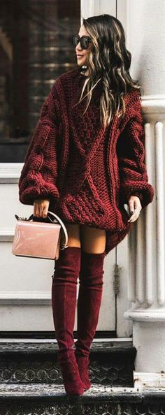 40 Stylish Winter Outfits To Try Right Now 40 Stylish Winter Outfits To Try Right Now / Red Knit Dress / Burgundy Velvet OTK Boots / Pink Shoulder Bag The post 40 Stylish Winter Outfits To Try Right Now appeared first on New Ideas. Stylish Winter Outfits, Fall Winter Outfits, Winter Dresses, Autumn Winter Fashion, Winter Boots, Dress Winter, Fall Fashion, Preppy Winter, Dress Fashion