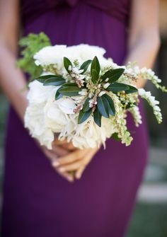 This white hydrangea bouquet pops against a purple gown Photography by Annie McElwain / anniemcelwain.com, Floral Design by Flowerwild / flowerwild.com, Event Coordination by XOXO BRIDE / xoxobride.com
