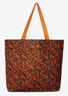 Maxi ecobag 100% algodão floral laranja