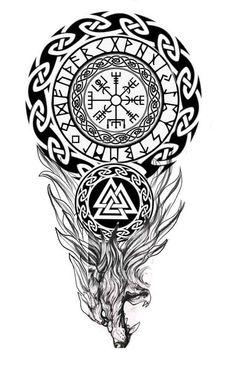 Viking Tribal Tattoos, Viking Tattoos For Men, Viking Warrior Tattoos, Viking Tattoo Sleeve, Wolf Tattoo Sleeve, Celtic Tattoos, Sleeve Tattoos, Viking Tattoo Symbols, Armband Tattoo Design