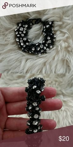 J.Crew Rhinestone Bracelet Only worn once for a wedding, this a gorgeous statement maker in perfect condition. Reasonable offers will be considered. J. Crew Jewelry Bracelets
