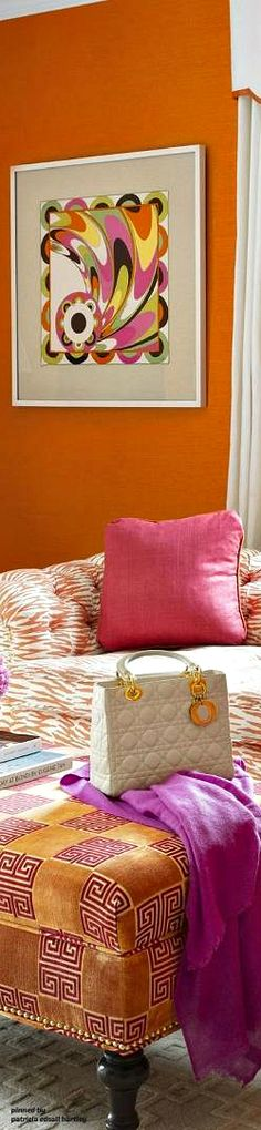 Orange Home Decor, Orange House, House Colors, Beautiful Homes, Ottoman, Vibrant, Pure Products, Photo And Video, Chair