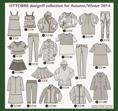 Billedresultat for ottobre winter 5 2014 Coloring Books, Coloring Pages, Wardrobe Makeover, Flat Sketches, Pattern Library, Pattern Drafting, Couture, Sewing Clothes, Line Drawing