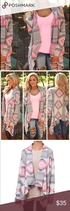 GRAY & PINK AZTEC SWEATER! Beautiful design on a warm winter / fall sweater---- brand new, retail. Never worn Tops Sweatshirts & Hoodies