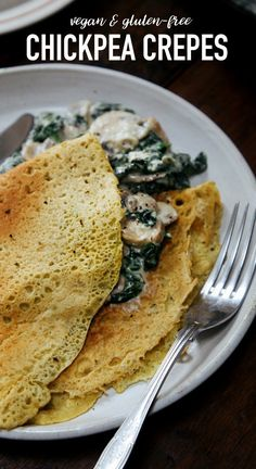 Savoury Chickpea Crepes with Creamy Mushrooms & Spinach + GIVEAWAY (Vegan Gluten Free Flatbread) Vegan Breakfast Recipes, Cooking Recipes, Vegetarian Recipes, Savory Breakfast, Creamy Mushrooms, Stuffed Mushrooms, Sweet Pancake Recipe, Crepe Maker, Savory Crepes