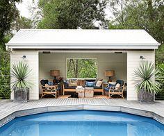 Pool Gazebo, Backyard Pool Landscaping, Backyard Pool Designs, Swimming Pools Backyard, Swimming Pool Designs, Small Pool Houses, Small Pools, Small Backyards, Pool House Shed