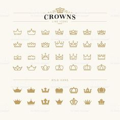 Set of crown line and bold icons. Set of crown icons , Mini Tattoos, Body Art Tattoos, Small Tattoos, Bow Tattoos, Tatoos, Sleeve Tattoos, Tatoo Crown, Crown Logo, Small Crown Tattoo