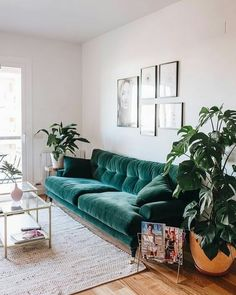 80 Smart Solution Small Apartment Living Room Decor Ideas - Margo & Me- - 80 Smart Solution Small Apartment Living Room Decor Ideas elegant home decor Living Room Green, Boho Living Room, Living Room Sofa, Living Room Furniture, Living Rooms, Bohemian Living, Cozy Living, Modern Bohemian, Chesterfield Living Room