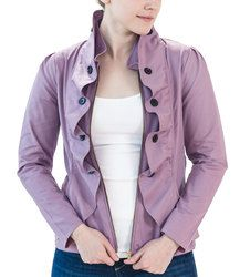 Exclusive #Petite Ruffled Blazer in Lavender is now available in our shop! $125, sizes 0P-10P...handmade in San Francisco :) Petite Tops, Petite Sizes, Petite Fashion, Raincoat, Spring Summer, Orchid, Model, Jackets, Shopping