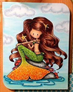 Colorful Copic Creations: Tiddly Inks Fairies and Mermaids Cute Mermaid, Vintage Mermaid, Mermaid Art, Mermaid Paintings, Tattoo Mermaid, Fantasy Mermaids, Mermaids And Mermen, Mermaid Under The Sea, The Little Mermaid