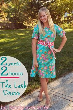 This adorable dress takes two yards of fabric and comes together in about two hours. Love the chic accent belt!