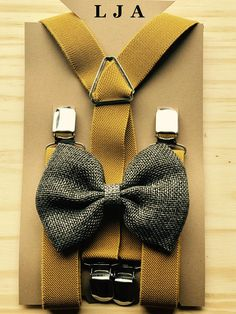 Groomsmen outfits Suspender Bow Tie Set Groomsmen outfits with suspenders Boys Rustic Wedding outfits Mustard braces & Gray bow Ring bearer outfits Suspender Bow Tie Set Groomsmen outfits. Grey Bow Tie, Groomsmen Outfits, Rustic Flower Girls, Ring Bearer Outfit, Wedding Attire, Wedding Outfits, Rustic Wedding Venues, Card Box Wedding, Tie Set
