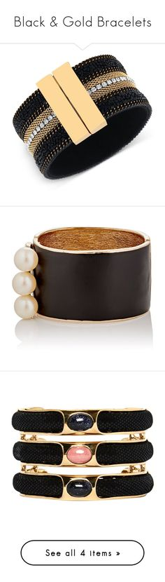 """Black & Gold Bracelets"" by stylish-sparkles ❤ liked on Polyvore featuring jewelry, bracelets, enamel jewelry, tory burch jewellery, tory burch bangle, tory burch, tory burch jewelry, beading jewelry, beads jewellery and beaded bangles"