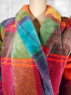 Vintage 80's Rainbow Plaid Color Block Coat by VendageTresors, $56.00