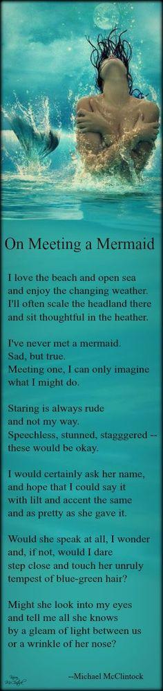 """Ocean Sea: """"On Meeting a mermaid"""" by Michael McClintock. Siren Mermaid, Sea Siren, Mermaid Fairy, Mermaid Tale, Tattoo Mermaid, Mermaid Sign, Fantasy Mermaids, Real Mermaids, Mermaids And Mermen"""