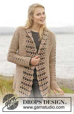 """Crochet DROPS jacket with bands in fan pattern in """"Nepal"""". Size: S - XXXL. ~ DROPS Design"""