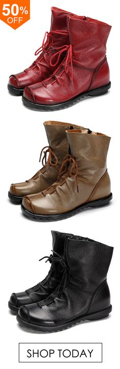 SOCOFY Large Size Leather Pure Color Lace Up Ankle Zipper Soft Boots.   leather   c2f73625f00